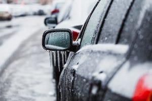 Freezing rain and ice on car in traffic in Tulsa OK